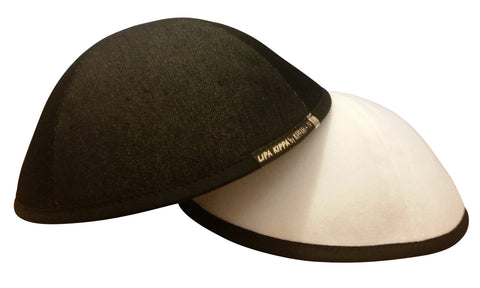 Black & white reversible denim iKIPPAH yarmulke with both sided displayed.