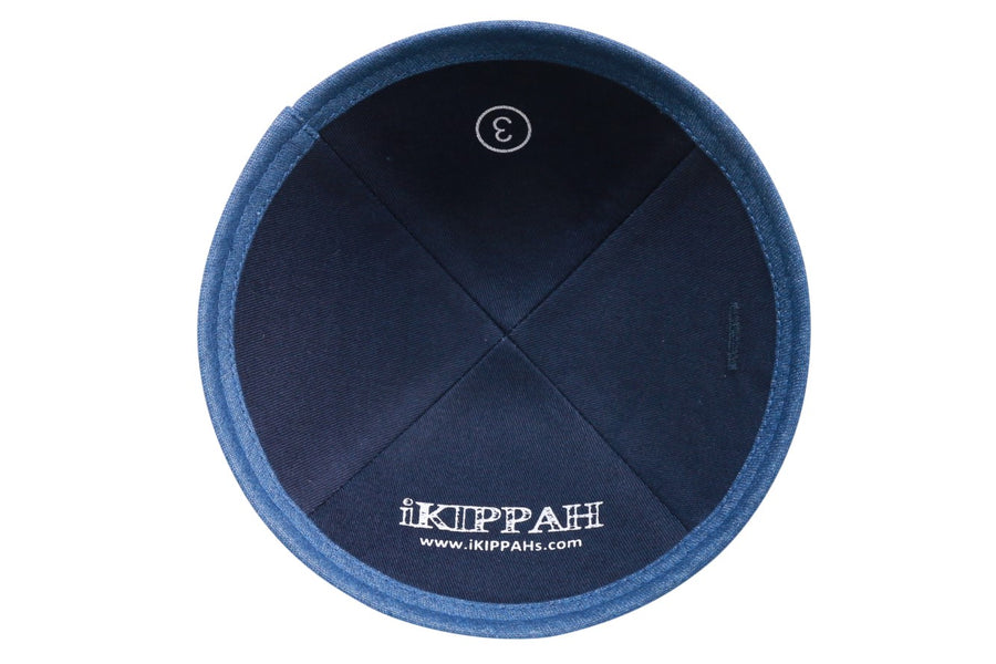 IKIPPAH NAVY DENIM W/ LIGHT BLUE DENIM RIM YARMULKE