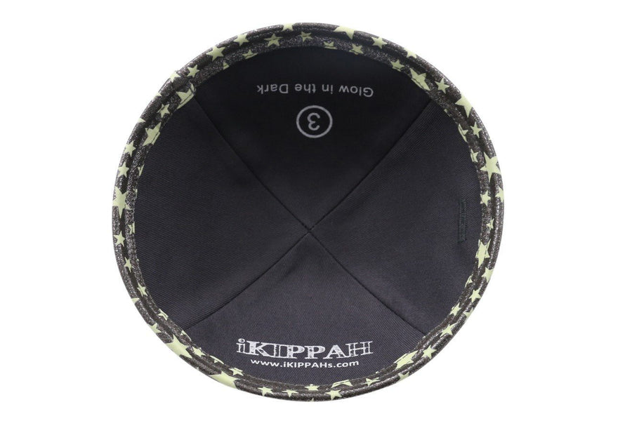 IKIPPAH Silver - GLOW IN THE DARK YARMULKE