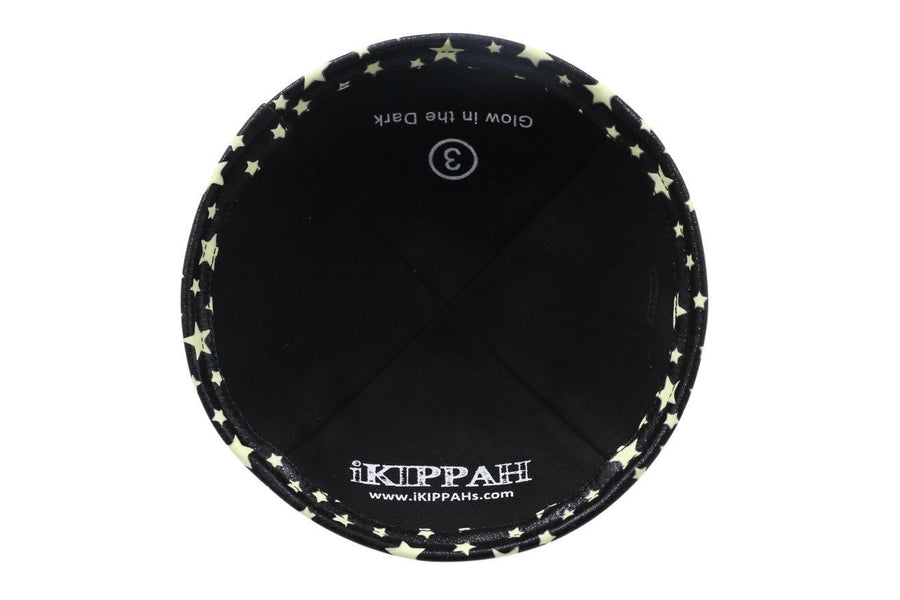 IKIPPAH BLACK - GLOW IN THE DARK YARMULKE
