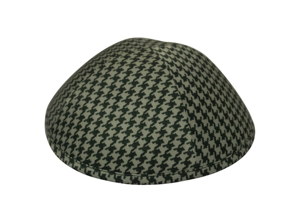 Green houndstooth patterned iKIPPAH brand yarmulke.