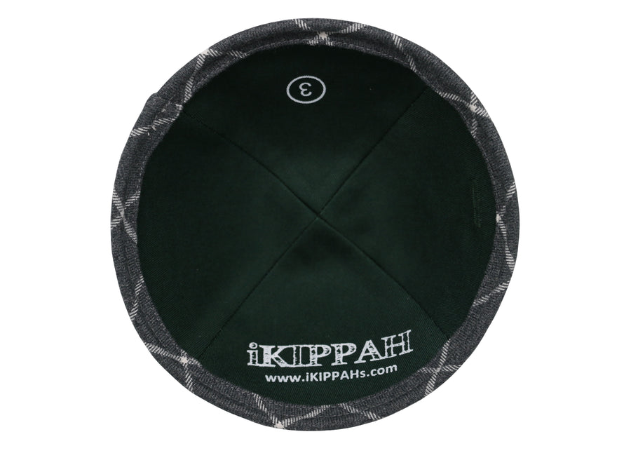 iKIPPAH Gray Plaid Yarmulke