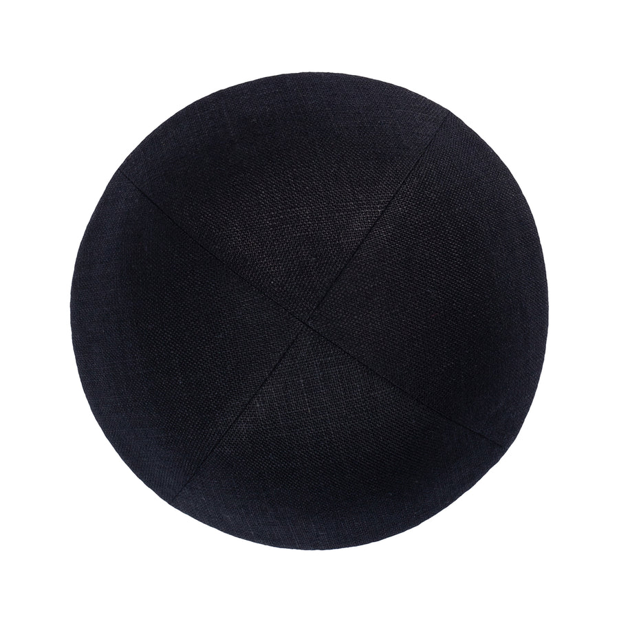 IKIPPAH BLACK LINEN W/ WHITE LEATHER RIM YARMULKE