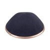 IKIPPAH CHARCOAL LINEN W/ ROSE GOLD LEATHER RIM YARMULKE