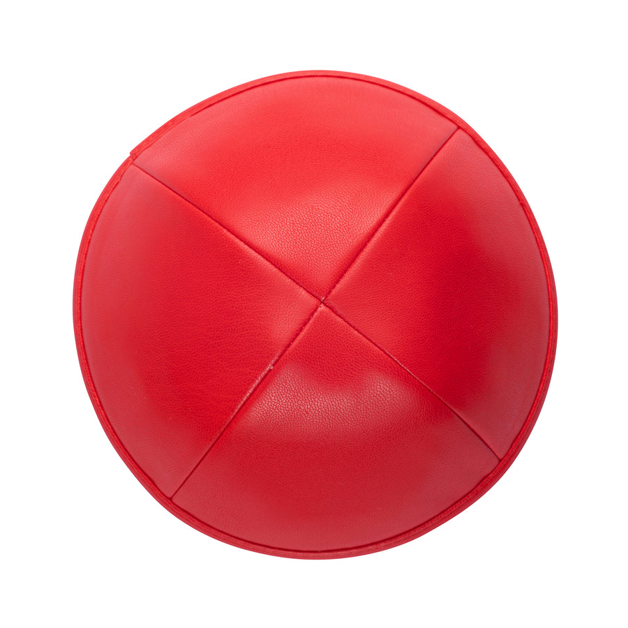 IKIPPAH RED LEATHER YARMULKE