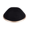 IKIPPAH BLACK LINEN W/ ROSE GOLD LEATHER RIM YARMULKE