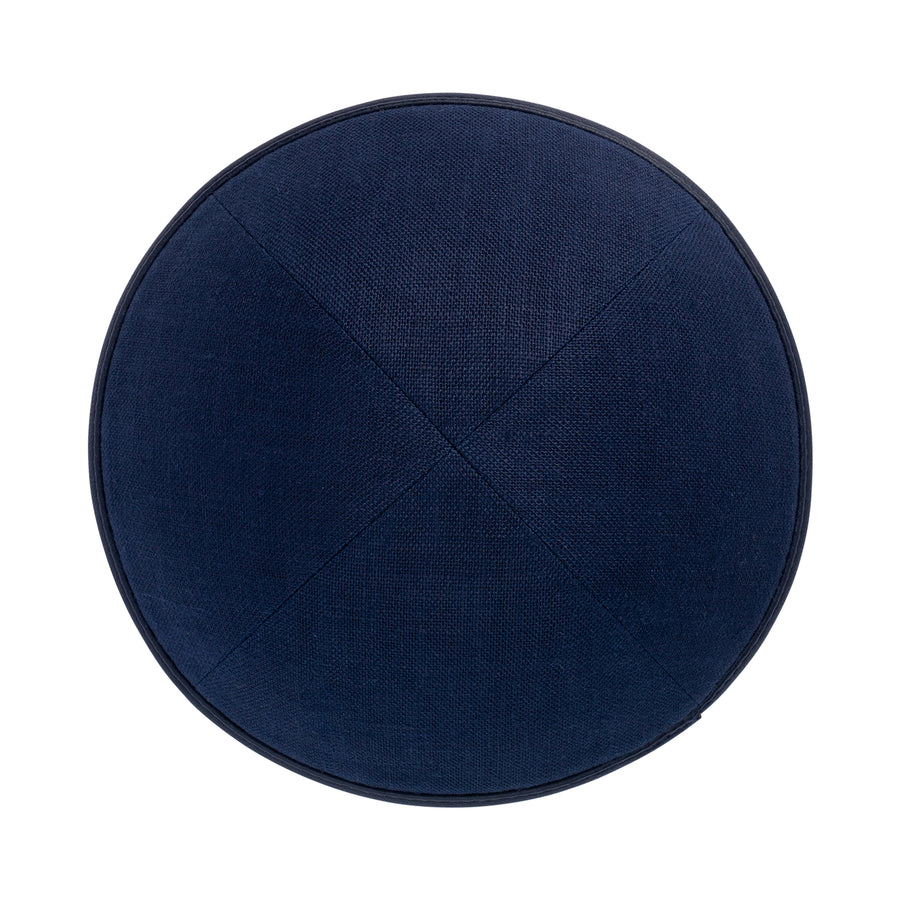 IKIPPAH NAVY LINEN W/ LEATHER RIM YARMULKE