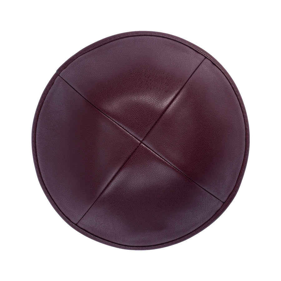 IKIPPAH BURGUNDY LEATHER YARMULKE