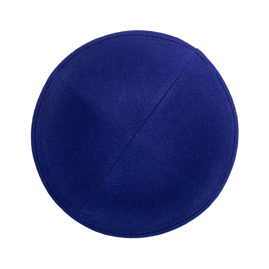 IKIPPAH ROYAL BLUE LINEN YARMULKE
