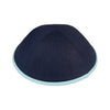 IKIPPAH NAVY LINEN W/ LIGHT BLUE RIM YARMULKE