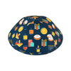 IKIPPAH HAPPY CHANUKAH - BLUE YARMULKE