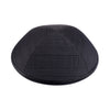 IKIPPAH GRAY PLAID WITH BLACK LEATHER YARMULKE