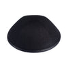 IKIPPAH BLACK LINEN W/ LEATHER RIM YARMULKE