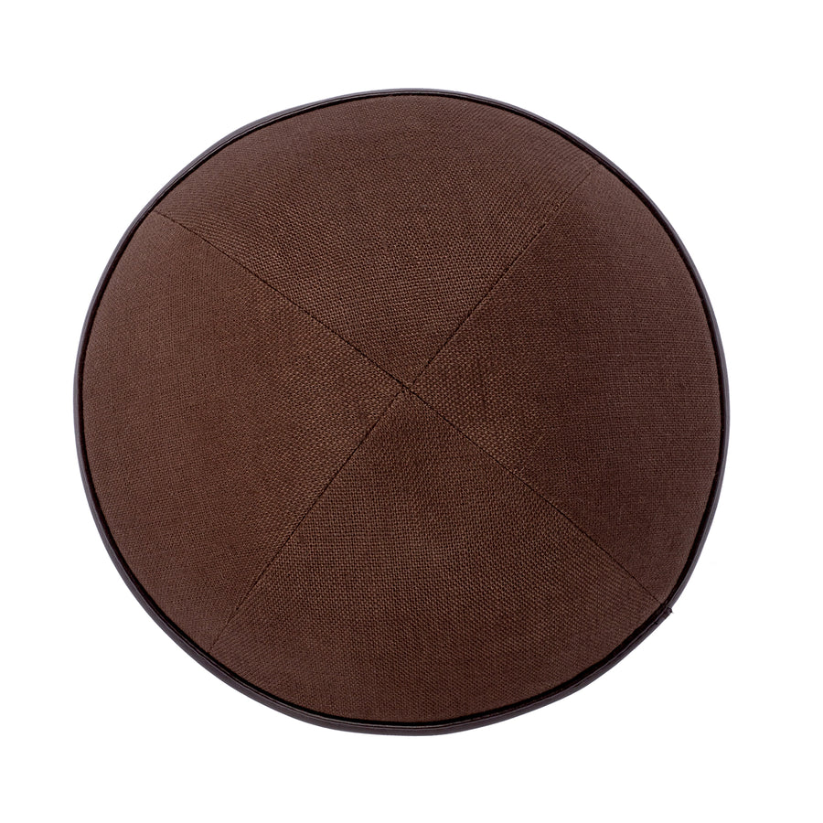IKIPPAH BROWN LINEN W/ BROWN LEATHER RIM YARMULKE