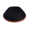 IKIPPAH BLACK LINEN W/ CAMEL LEATHER RIM YARMULKE