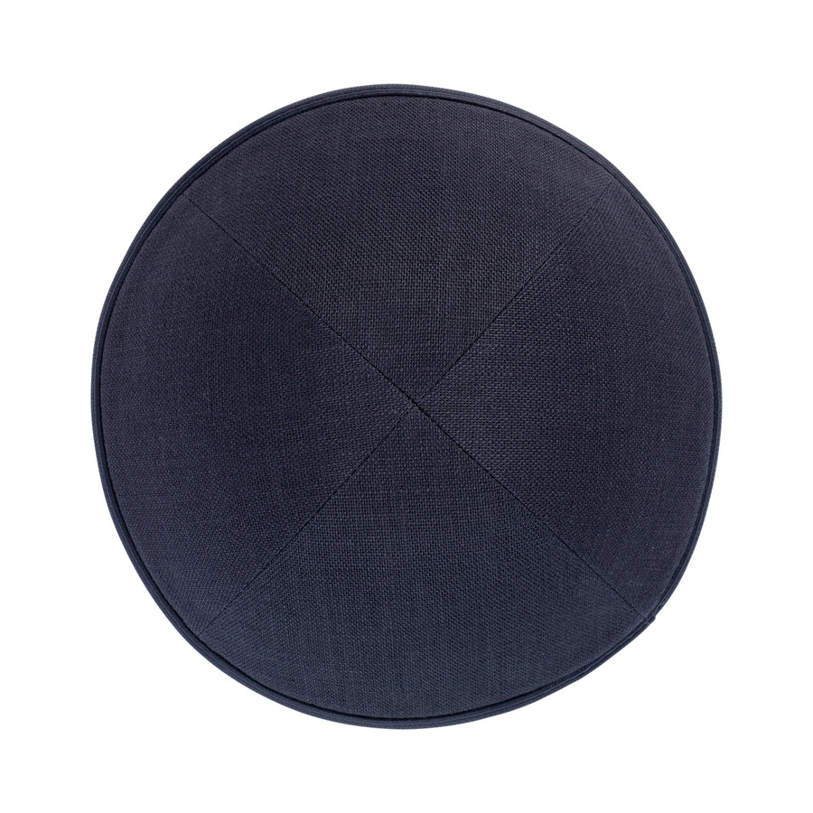 IKIPPAH CHARCOAL GRAY LINEN W/ LEATHER RIM YARMULKE