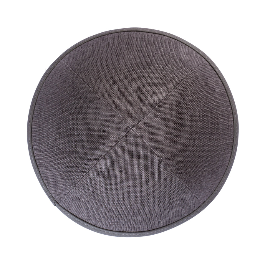 IKIPPAH GRAY LINEN WITH LEATHER RIM YARMULKE