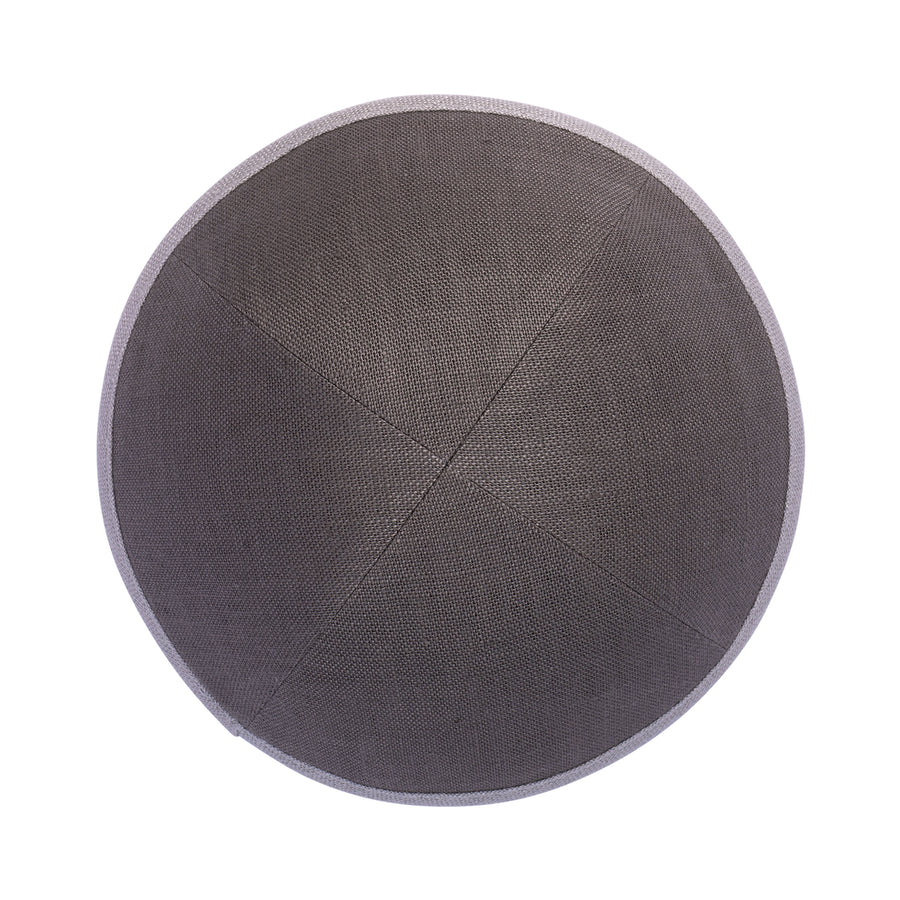 IKIPPAH GRAY LINEN W/ LIGHT GRAY RIM YARMULKE