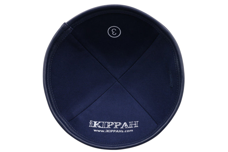 IKIPPAH Navy Leather YARMULKE