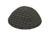 Navy blue iKIPPAH brand yarmulke with a distinctive checkered pattern.