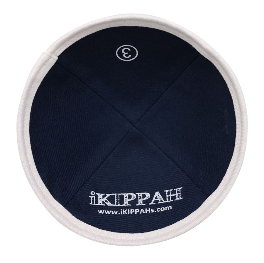 Navy blue iKippah with a bright white border at the bottom edge.
