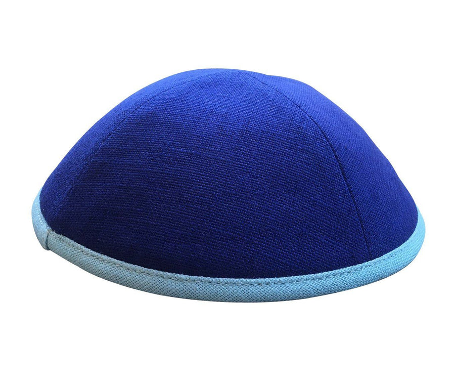 Bright blue iKIPPAH yarmulke with a lighter blue rim border.