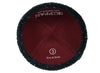 Dark color iKIPPAH brand yarmulke with delicate speck design inside view.