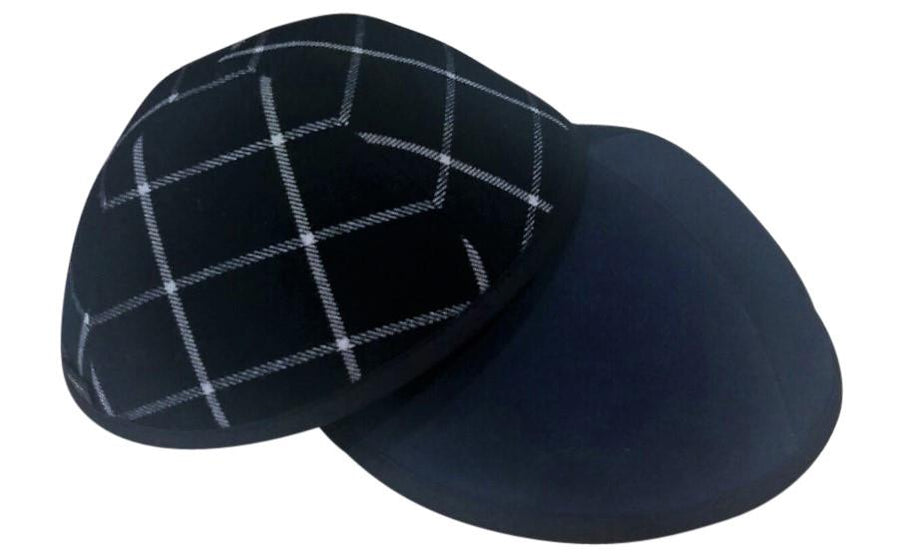 Navy blue with white boxed line plaid iKIPPAH brand yarmulke.