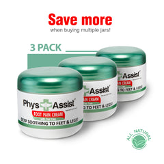 PhysAssist Foot Pain Cream with Australian Tea Tree Oil (3 Pack)