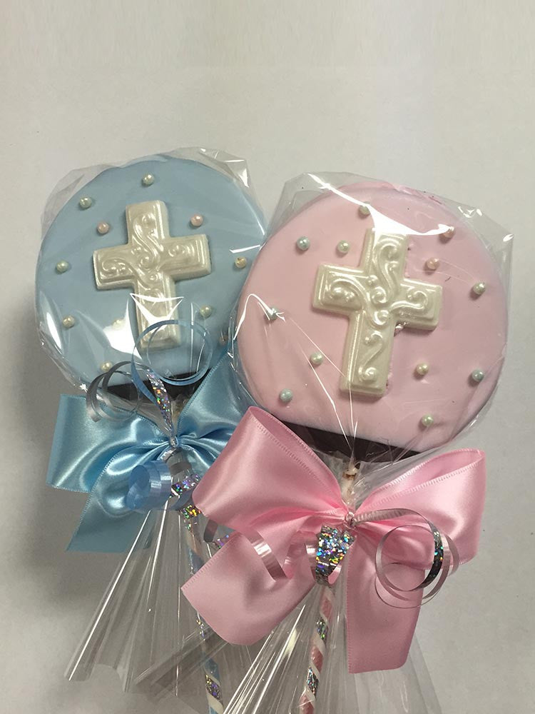 Baptism Cross Chocolate Crispy Lolly