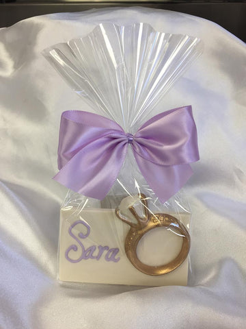 Gold Diamond Ring Place Card