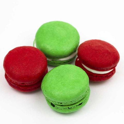Holiday Macarons in Red and Green