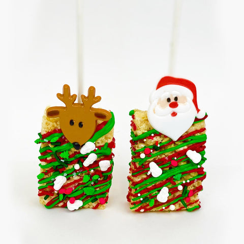 Reindeer and Santa Rice Krispy Treats Lolly