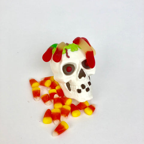 White Chocolate 3D Skull with Gummy Worms