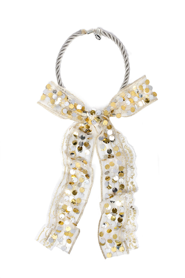 Modern Queen Kids Sparkling Bow in Gold/Silver