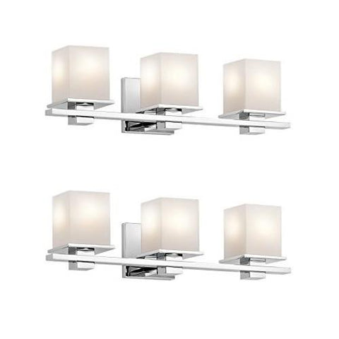 Kichler 45151CH Tully 3-Light Vanity Fixture and Satin Etched Cased Opal Glass, Chrome Finish (Chrome - 2 Pack)