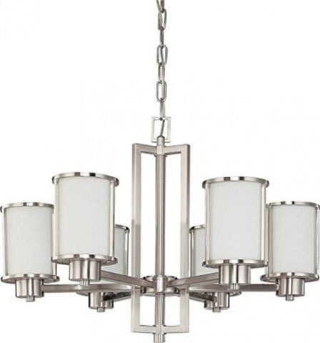 Nuvo 60-2853 - Chandelier in Brushed Nickel Finish (Convertible Arms Up or Down)