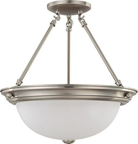 "Nuvo 60-3296 - 15"" Semi Flush Mount Ceiling Light in Brushed Nickel Finish"
