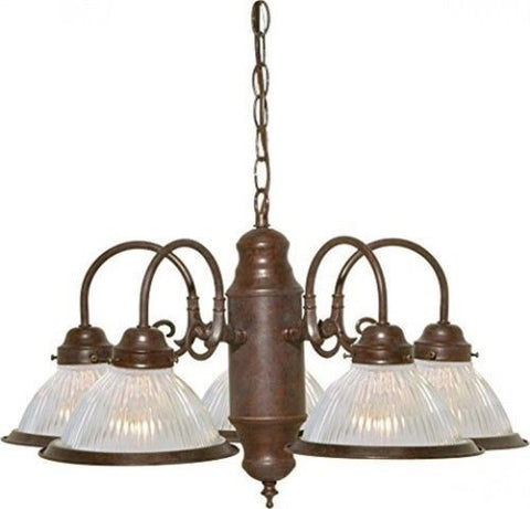 "Nuvo 76-445 - 5-Lights 22"" Old Bronze Chandelier with Clear Ribbed Shades"