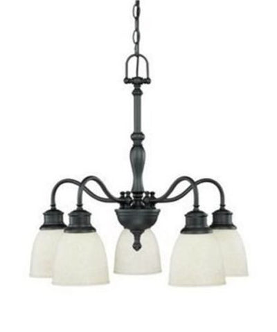 Nuvo 60-2778 - 5-Lights Aged Bronze Chandelier (Arms Down) with Biscotti Glass