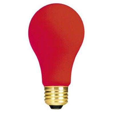 Bulbrite 60A/CR 60 Watt Incandescent A19 Party Bulb, Medium Base, Ceramic Red
