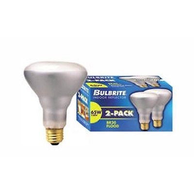Bulbrite 248026 65 Watt Incandescent BR30 Reflector, Flood, Clear, 2-Pack
