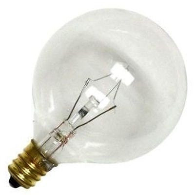 Bulbrite 25G16CL3 25 Watt Incandescent G16.5 Globe, Candelabra Base, Clear