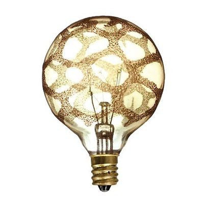 Bulbrite 144024 Crystal Collection 25W Incandescent G16 Globe, Marble, Amber