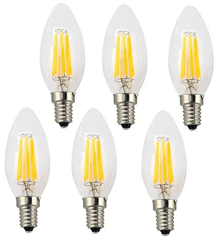 Ciata Lighting LED Candelabra 6 Watt E12, Warm White 2700K (Torpedo - 6 Pack)