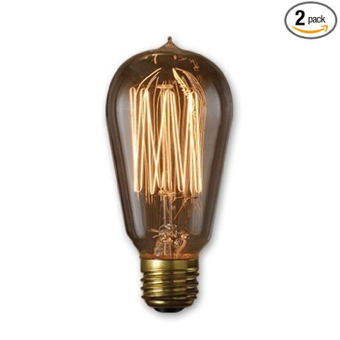 60-watt Incandescent Nostalgic Thread A19 with Medium Base, Antique (2 Pack)