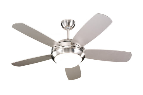 Feiss Discus II 5-Blade Ceiling Fan With Light, Brushed Steel and Matte Opal