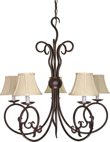 "Nuvo 60-040 - 5-Lights 29"" Old Bronze Chandelier with Linen Waffle Shade"