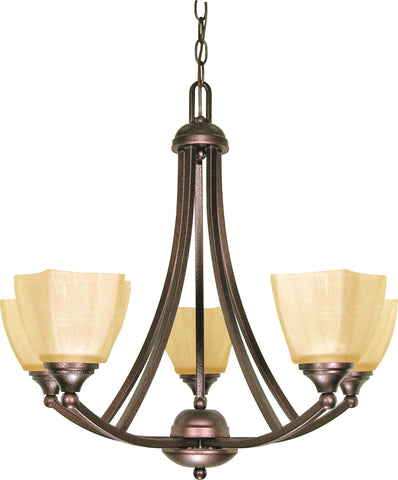 "Nuvo 60-055 - 25"" Copper Bronze Chandelier with Champagne Washed Linen Glass"