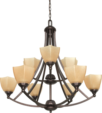 "Nuvo 60-063 - 32"" Copper Bronze Chandelier with Champagne Washed Linen Glass"